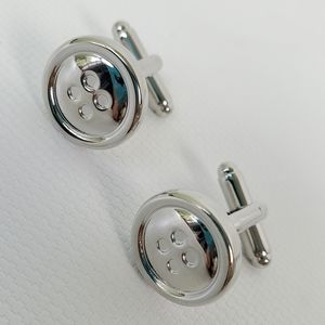 Stainless Steel Silver Button Cuff Links